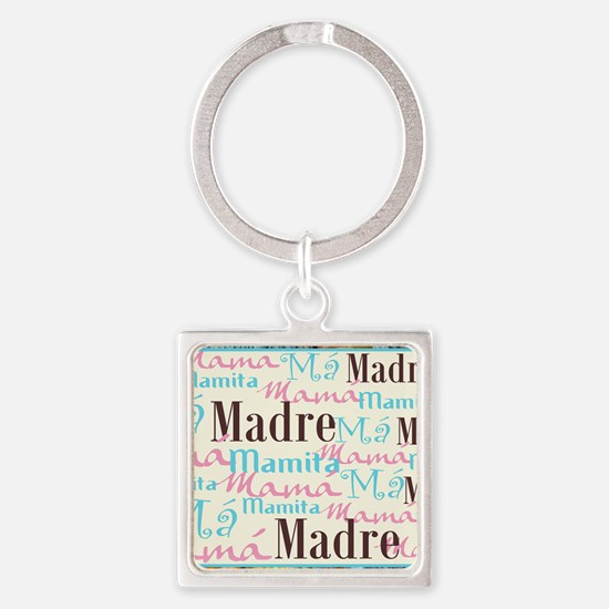 Spanish_Pink_Turq_Brn_Framed_Mouse Square Keychain