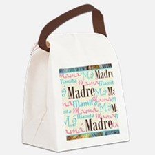 Spanish_Pink_Turq_Brn_Framed_Mous Canvas Lunch Bag
