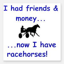 "race horse Square Car Magnet 3"" x 3"""