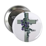 Green Cross w/Purple Flower's Button