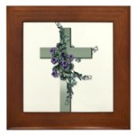 Green Cross w/Purple Flower's Framed Tile