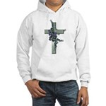 Green Cross w/Purple Flower's Hooded Sweatshirt
