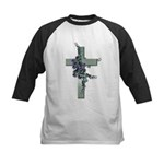 Green Cross w/Purple Flower's Kids Baseball Jersey