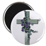 Green Cross w/Purple Flower's Magnet