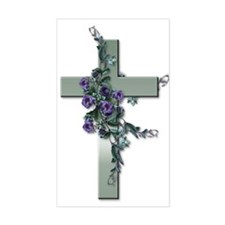 Green Cross w/Purple Flower's Sticker (Rectangular
