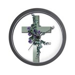 Green Cross w/Purple Flower's Wall Clock