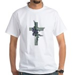 Green Cross w/Purple Flower's White T-Shirt
