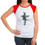 Green Cross w/Purple Flower's Women's Cap Sleeve T