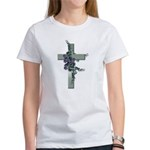 Green Cross w/Purple Flower's Women's T-Shirt