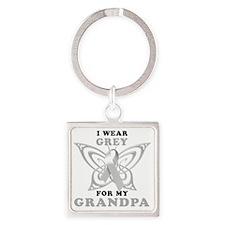 I Wear Grey for my Grandpa Square Keychain