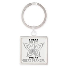I Wear Grey for my Great Grandpa Square Keychain