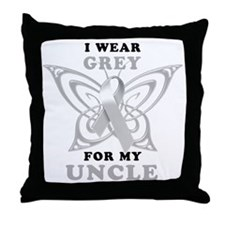 I Wear Grey for my Uncle Throw Pillow