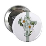 Green Cross w/Daisies Button