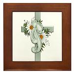Green Cross w/Daisies Framed Tile