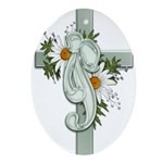 Green Cross w/Daisies Oval Ornament