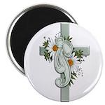 Green Cross w/Daisies Magnet