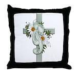 Green Cross w/Daisies Throw Pillow