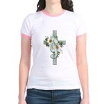 Green Cross w/Daisies Jr. Ringer T-Shirt