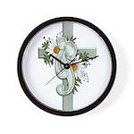 Green Cross w/Daisies Wall Clock