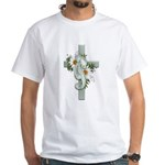 Green Cross w/Daisies White T-Shirt