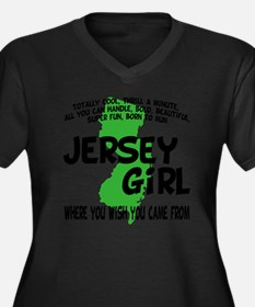 jersey girl Women's Plus Size Dark V-Neck T-Shirt