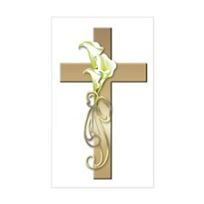 Gold Cross w/Lilly Flower's Rectangle Decal