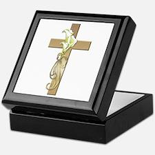 Gold Cross w/Lilly Flower's Keepsake Box