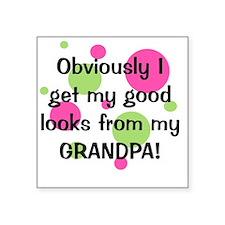 """obviously_grandpa_girl Square Sticker 3"""" x 3"""""""