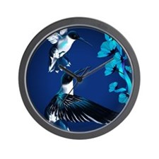 two blue Hummingbirds PosterP Wall Clock
