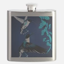 two blue Hummingbirds PosterP Flask