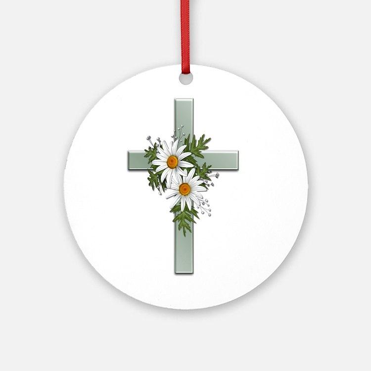 Green Cross w/Daisies 2 Ornament (Round)