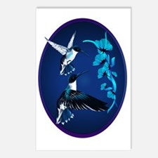 Two Blue Hummingbirds Ova Postcards (Package of 8)