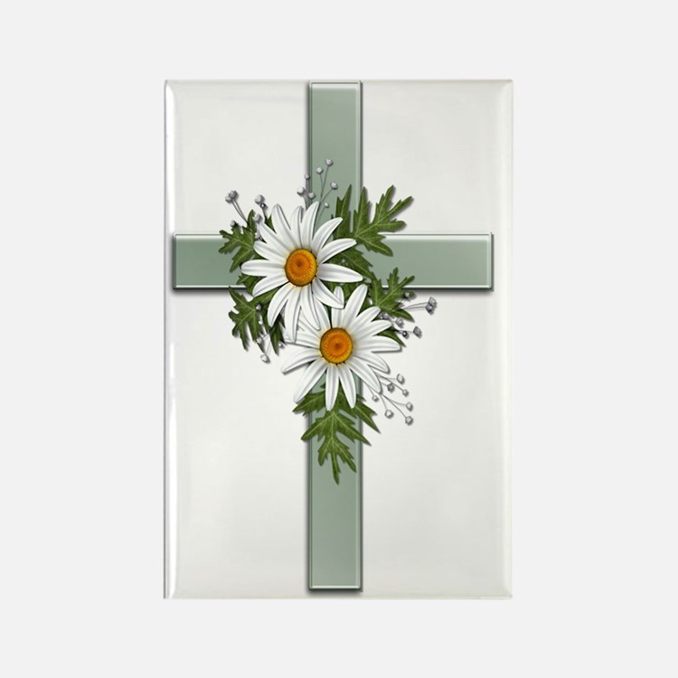 Green Cross w/Daisies 2 Rectangle Magnet