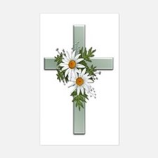 Green Cross w/Daisies 2 Rectangle Decal