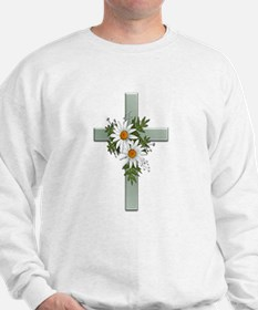 Green Cross w/Daisies 2 Sweatshirt