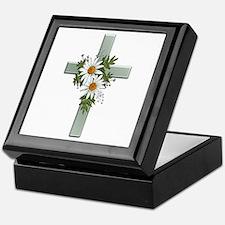 Green Cross w/Daisies 2 Keepsake Box