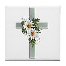 Green Cross w/Daisies 2 Tile Coaster