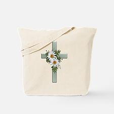 Green Cross w/Daisies 2 Tote Bag