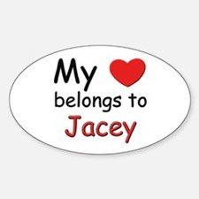 My heart belongs to jacey Oval Decal