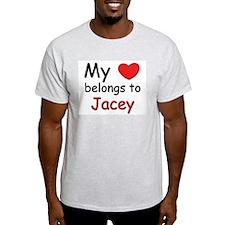 My heart belongs to jacey Ash Grey T-Shirt