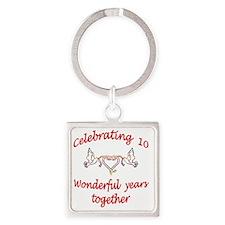 celebrating 10 years  Square Keychain