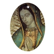 Our Lady of Guadalupe - close up Gre Oval Ornament