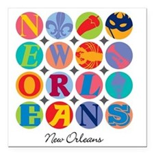 """New Orleans Themes Square Car Magnet 3"""" x 3"""""""