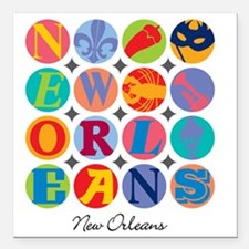 "New Orleans Themes Square Car Magnet 3"" x 3"""