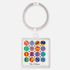 New Orleans Themes Square Keychain