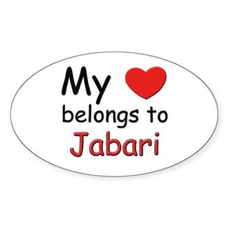 My heart belongs to jabari Oval Sticker