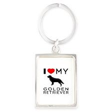 I Love My Golden Retriever Portrait Keychain