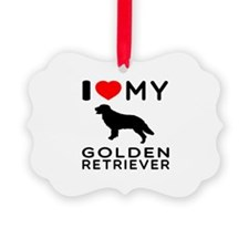 I Love My Golden Retriever Ornament