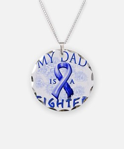 My Dad Is A Fighter Blue Necklace Circle Charm