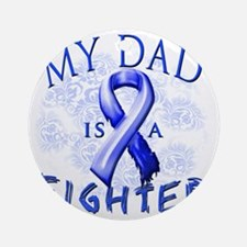 My Dad Is A Fighter Blue Round Ornament
